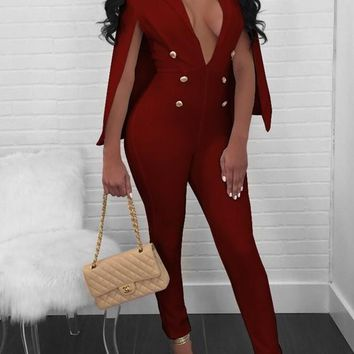 Burgundy Double Breasted Cape Deep V-neck High Waisted Cocktail Party Long Jumpsuit