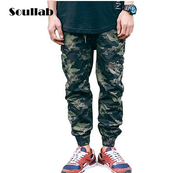 SOULLAB mens bottoms camo camouflage jogger pants essential sweat sweatpants tyga fashion rap rapper boys over size slim fit