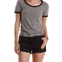 Gray Heathered Ringer Tee by Charlotte Russe