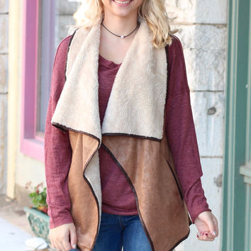 Sheen Suede Fur Lined Vest {Mocha+Brown}