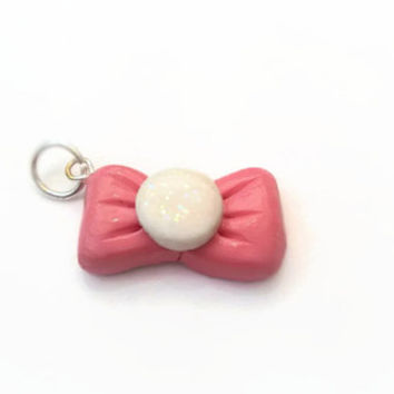 Charm ~ Pink Bow with Sparkly White Center ~ Polymer Clay Charm ~ Necklace Charm ~ Bracelet Charm ~ Cute Art ~ Made to Order