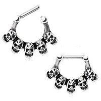 Surgical Steel Grinning Skulls Septum Clicker
