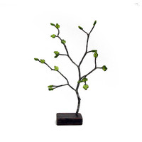 Eco-friendly Rustic Holly Ilex  Peridot Glass Green Leaves Bonsai Jewelry Earring Tree or Centerpiece by Tanja Sova