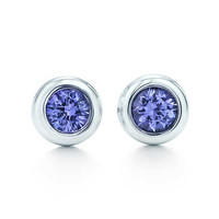 Tiffany & Co. - Elsa Peretti® Color by the Yard earrings in sterling silver with tanzanites.