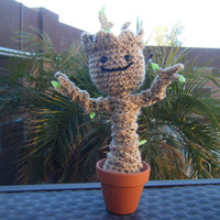 Crocheted Posable Light Brown Baby Groot in Clay Pot