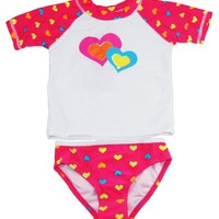 Sweet & Soft Infant Baby Girls 12-24M Pink Twin Hearts Set Rashguard Set
