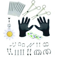 BodyJ4You Body Piercing Kit Professional 16G 14G Sunflower Belly Ring Tragus 35 Pieces
