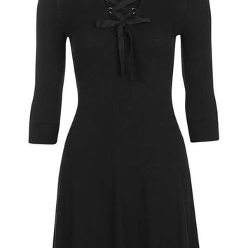 Lace Up Flippy Dress - Dresses - Clothing