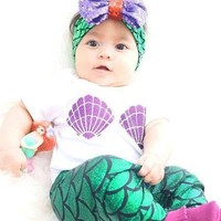 baby shell purple green mermaid fish scales boutique pants kids Summer clothes girls clothing with bow and headband set