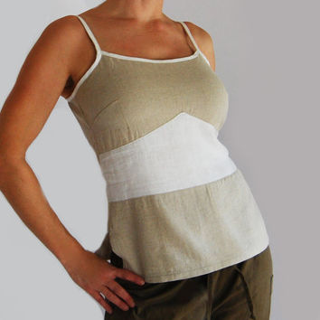 Linen Summer Top in White and Oatmeal by BajaSoul on Etsy