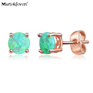 Marte&Joven Rose Gold Color Stainless Steel Synthetic Opal 6mm Round Stud Earrings for Women Girls Tiny Hypoallergenic Ear Studs