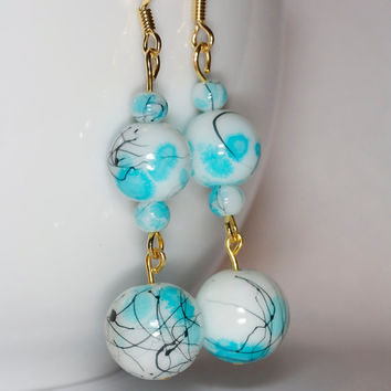 Blue dangle earrings Glass beads earrings Long dangle earrings Long blue earrings Handmade earrings Handmade blue earrings Handmade dangle