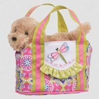 Dragonfly Sassy Pet Sak Tote with Removable Golden Retriever Plush Toy