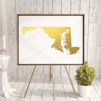 USA MAP PRINTABLE Maryland Gold Foil Iowa print Maryland state silhouette Maryland map Maryland printable Maryland wall art Usa Map Art