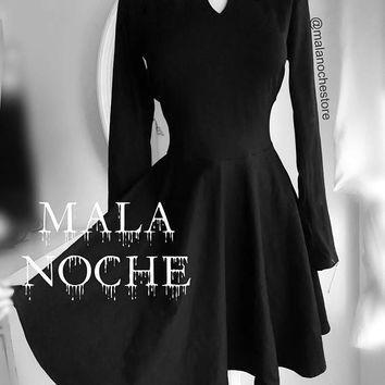 Merlina  Moon dress, Addams dress, Wednesday Addams, moon dress, black skater, lolita dress, dark, moon top, skater dress