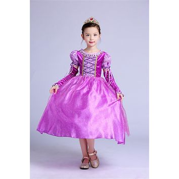 Children Fancy Princess Dress Purple Gown For Girl Christmas Costume Kids Carnival Role -play Party Wear Teen Girl Clothes Party