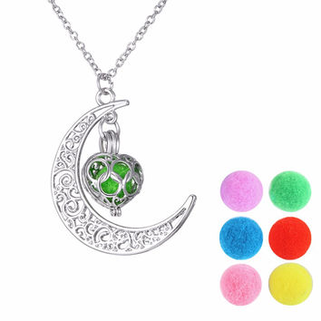Mix Style Aromatherapy Locket DIY Floating Ball Cage Pendant Hollow Out Filigree Perfume Heart Flower Round Star Necklaces Women