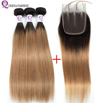 Queena Fashion Ombre Bundles with Closure 1B/27 Blonde Ombre Peruvian Hair Weave Ombre Straight Human Hair 3Bundles with Closure