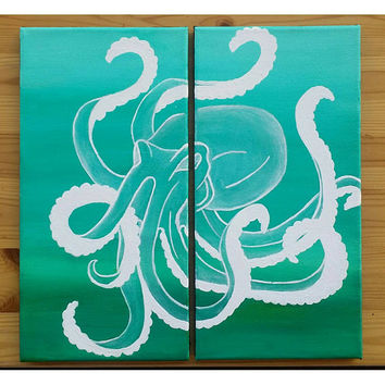 Octopus 2 piece painting, 2 piece canvas painting, ocean wall decor, octopus silhouette on canvas, tenticle wall art, octopus wall decor