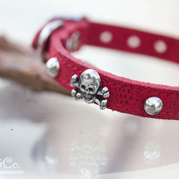 Skull and Crossbone Crystal Dog Collar