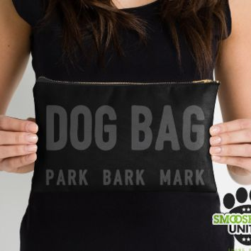 Dog park bag - perfect for dog walks, holding poop bags, or dog treats! zipper pouch, clutch, bag, organizer - printed on both sides