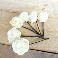 Ivory  Rose Wedding Hair Pins, Ivory Bridal Hair Pins, Hair Accessories, Bridesmaid Hair, Woodland - Set of 6