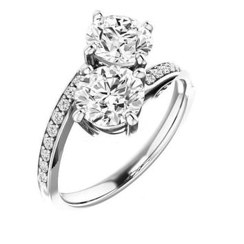 2.50 Ct Diamond Two Stone Love Engagement Ring  14k White Gold