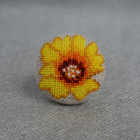Embroidered yellow flower Cross stitch ring Embroidered jewelry Unique flower Ring handmade Yellow ring Gift for her Flower jewelry