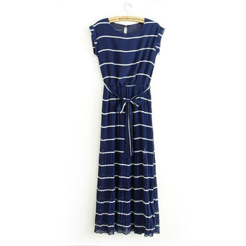 Summer Stripes Sea Maxi Dress Bohemia Chiffon Plus Size Slim Short Sleeve Prom Dress One Piece Dress [6045435585]