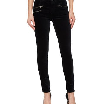 AG Adriano Goldschmied Velvet Legging Ankle Moto in Super Black