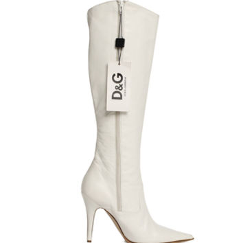 Dolce and Gabbana Knee High White Boots