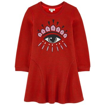 Kenzo Girls 'Eye' Red Sweatshirt Dress