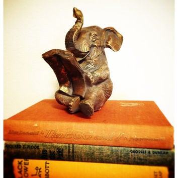 Mid Century Gold Reading Elephant