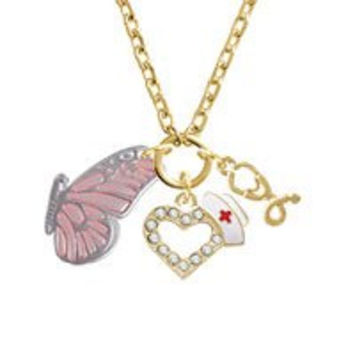Large Translucent Pink Flying Butterfly Gold Tone Nurse Heart Stethoscope Zoe Necklace