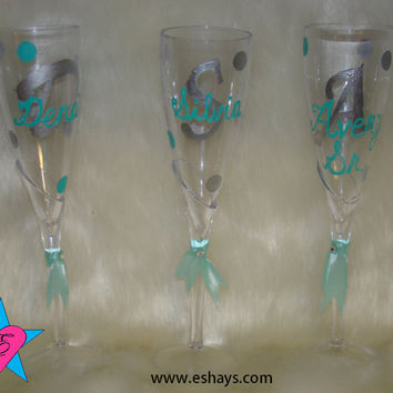 Cups- Personalized Wedding Plastic  CHAMPAGNE Glasses