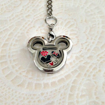 Mickey and Minnie Love Memory locket stainless steel with choice of stainless steel chain