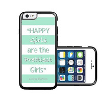 RCGrafix Brand Audrey Hepburn Quote Happy Girls Turquoise iPhone 6 Case - Fits NEW Apple iPhone 6