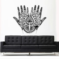 Wall Decal Vinyl Sticker Decals Art Decor Design Menhdi Hamsa Hand Om Lotus indian Buddha Ganesh Modern Bedroom Dorm Office Mural (z3119)
