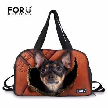 FORUDESIGNS Luggage Traveling Bags for Women Chihuahua Crazy Dogs Duffel Tote Large Canvas Hamster Bags Girls Shoulder Handbags