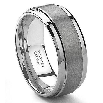 9MM Tungsten Metal Men's Wedding Band Ring in Comfort Fit and Matte Finish (Platinum)