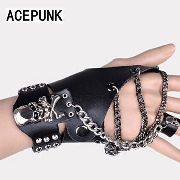 Skeleton Skull Leather Bracelet Gloves Chain Bracelets