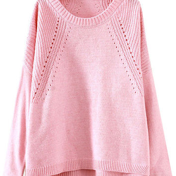 Pink Cutout Slit Knit Long Sleeve Sweater
