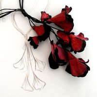 Crimson branch lariat leather necklace by julishland on Etsy