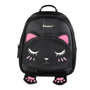 Cute Cat Animal Embroidery Backpacks Women Kawaii Black PU Leather Backpack for Teenage Girls Funny School Bag Causal Rucksacks