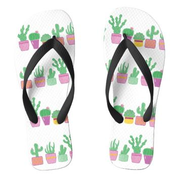 Cute whimsical cactus plants a row flip flops | Zazzle.co.uk