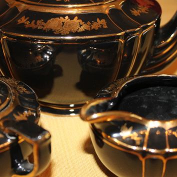 Rare Stunning Black and Gold English Teapot Set - Vintage Sadler Teapot