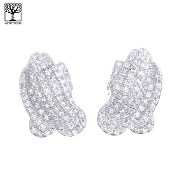 Jewelry Kay style Men's Sterling Silver Plated Micro Pave Pray Hand CZ Screw Back Earrings SHS479S