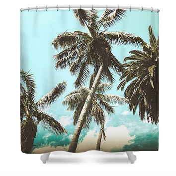 Teal Palm Trees Tropical Nature Polyester Fabric Shower Curtain