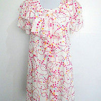 Summer Sale: white with colorful polka dots ruffled A line dress (medium to large; plus size; maternity)