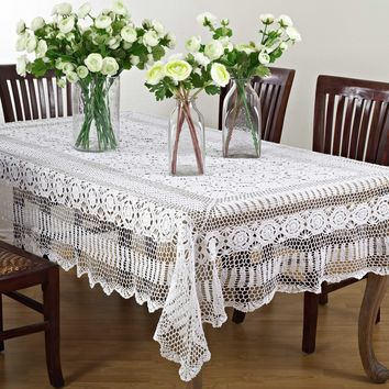 Aberdeen Oblong Crochet Tablecloth